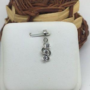 18K White Gold CZ 3 Stones Pendant